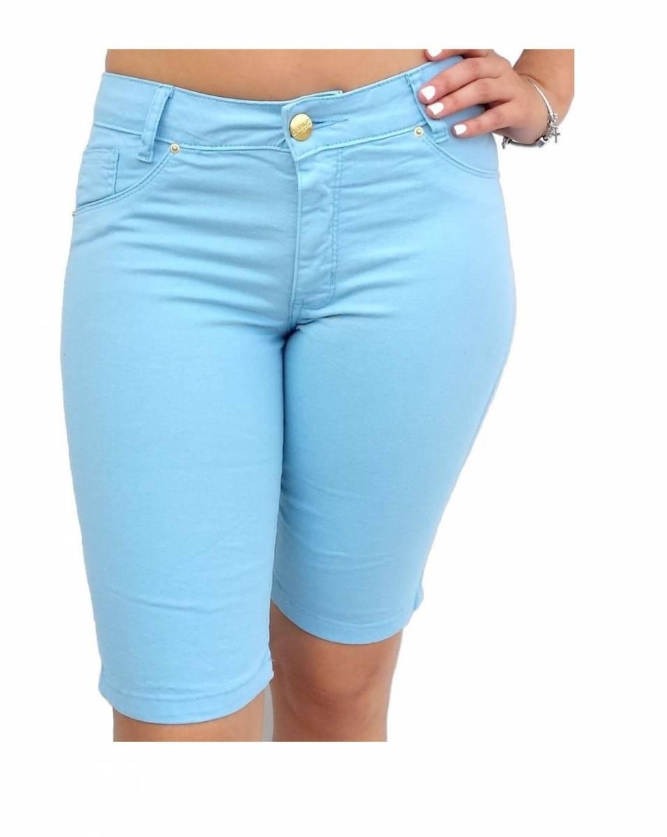 Bermuda Sarja Feminina Cintura Alta Azul Claro F2143001