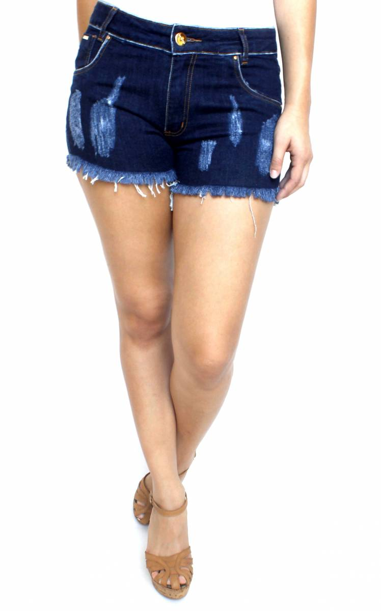 Short Jeans Desfiado Feminino Escuro S172041
