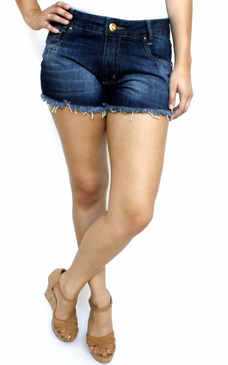 Short Jeans Escuro Feminino Desfiado S172042