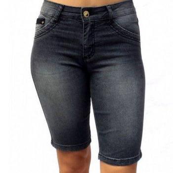Bermuda Jeans Feminina Cintura Alta F2093