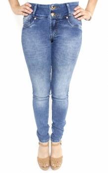 Calça Feminina Jeans Claro Skinny Cintura Média F2018016