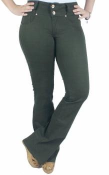 Calça Sarja Feminina Flare Verde Militar F2108011
