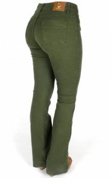 Calça Sarja Feminina Flare Verde Militar F2017092