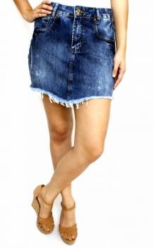 Saia Jeans Manchada Feminina Escura SA12011